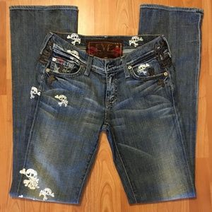 7 For All Mankind Leather Patchwork Skulls